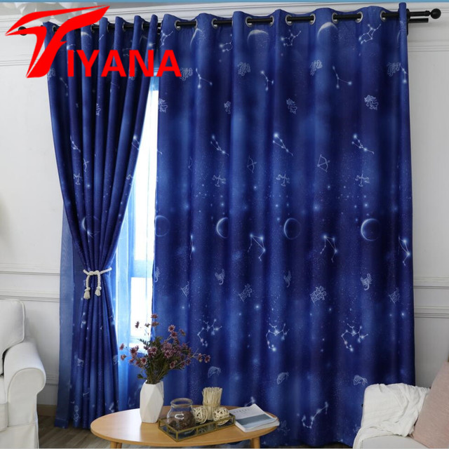 Blue Shade Curtains Romantic Starry Sky Tulle For Living Room ...