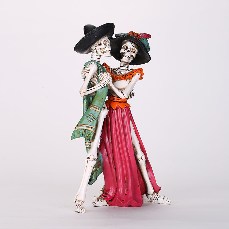 HeyMamba Dance of Life Dead Skeleton Couple Holding Hands Figurine Collectible Skeleton Figurine Skull Statue Decoration
