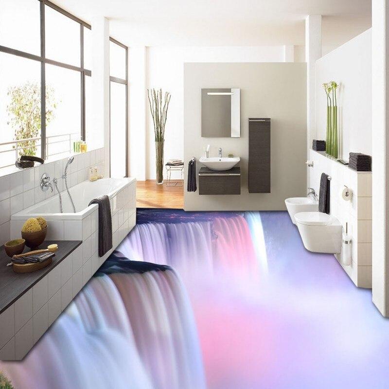 Бесплатная доставка 3D стер эстетику водопады торрент пол обои Чайный домик спальня Водонепроницаемый самоклеющиеся этаж росписи
