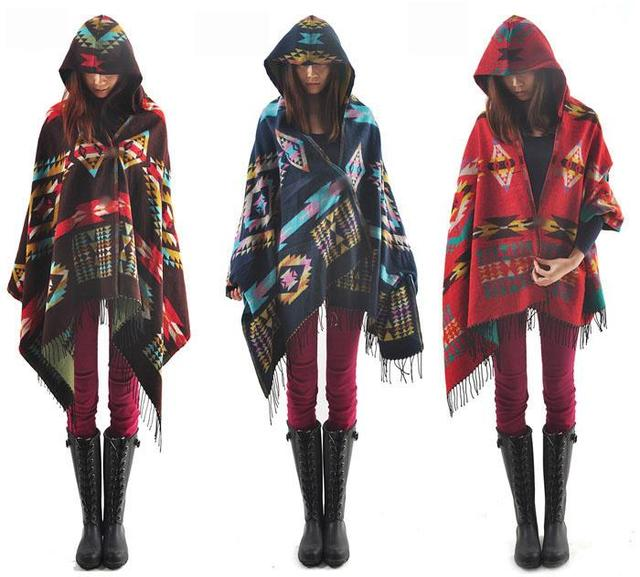 New Ladies Cape Coat Check Tartan Plaid Fringe Poncho Hoodie Hooded Bohemian Shawl Tassel Scarf Scarves Warm Wrap  Free Shipping