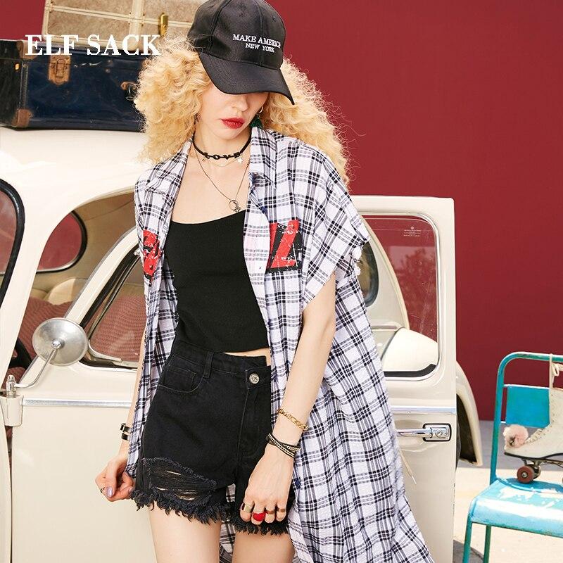 Mode Lâche Nouvelle Coton Carré Casual Collor Femmes Femme Sack Elf Automne Court Vintage Tops Plaid Lettre Chemises Imprimer tgRZq4gHw