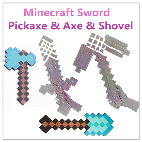 Minecraft Sword Mosaic Foam Diamond Sword and Pickaxe Toys For Children Minecraft Axe and Shovel Toy Party Play Gift Kids newest how to train your dragon 2 action cosplay weapons fire sword axe buckler toys for children brinquedos kids minecraft toys