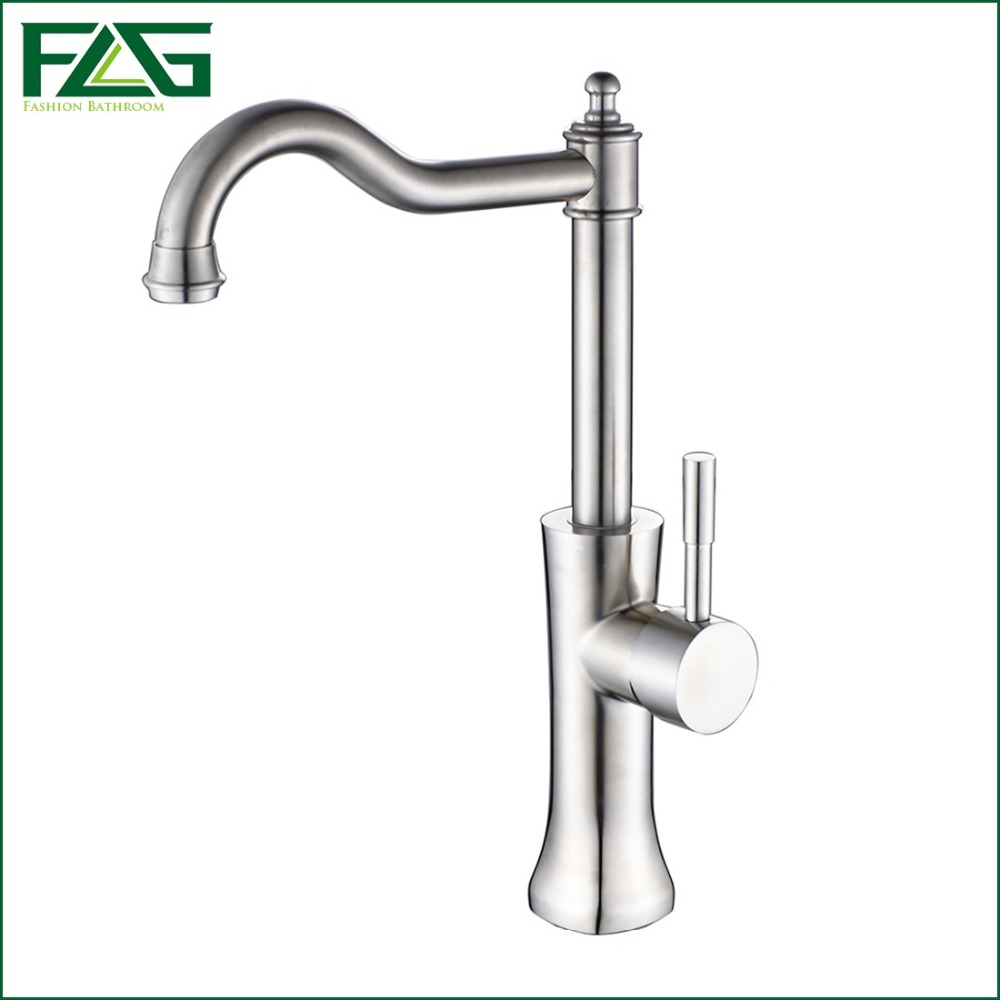 FLG Bath Mat Bathroom Faucet Brushed Nickel Deck Mounted 304 Stainless Steel Basin Faucet Bath Taps Cold & Hot Sink Taps SS011 okaros nickel brushed 304 stainless steel kitchen sink faucet deck mounted basin tap cold