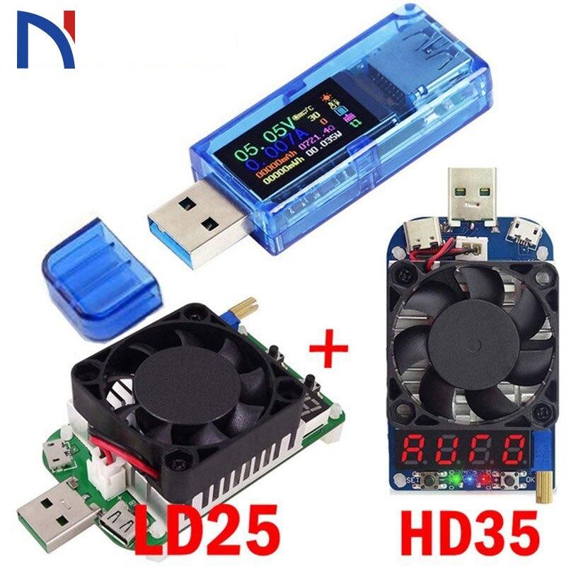 pantalla LCD a color de 1,44 pulgadas contador de impedancia de carga UM25C//UM25 Mult/ímetro de volt/ímetro de bater/ía con Bluetooth y volt/ímetro USB 2.0 tipo C