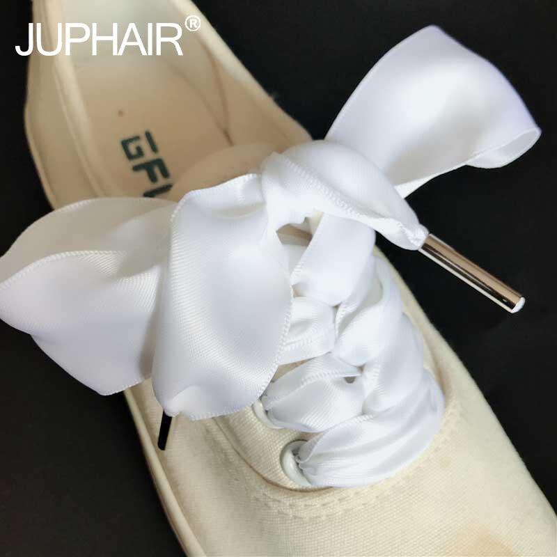1 Pair Laces Double Sided Canvas Shoes Lace Black White Khaki Pink Shoelaces Wide 3 cm Thin Polyester Imitation Satin Metal Head fggs shoelaces light for shoes 60 cm white