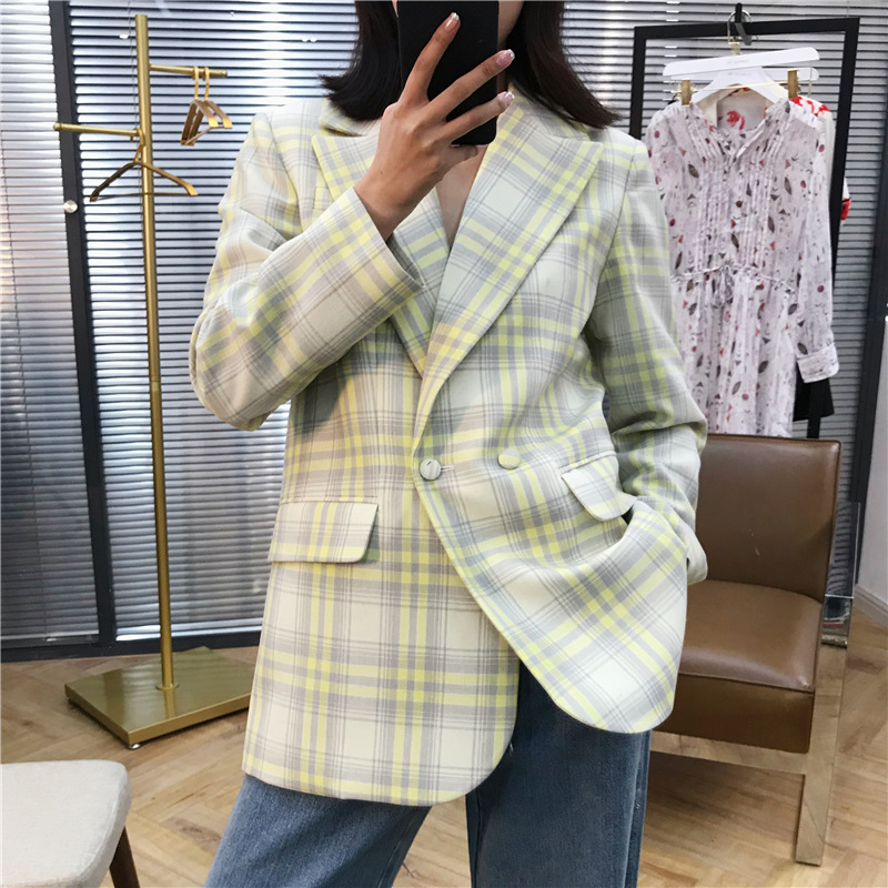Wool Suit Woman's Jacket With Large Checked Tone Profile Notched Double Breasted Plaid Women Blazers And Jackets 2019