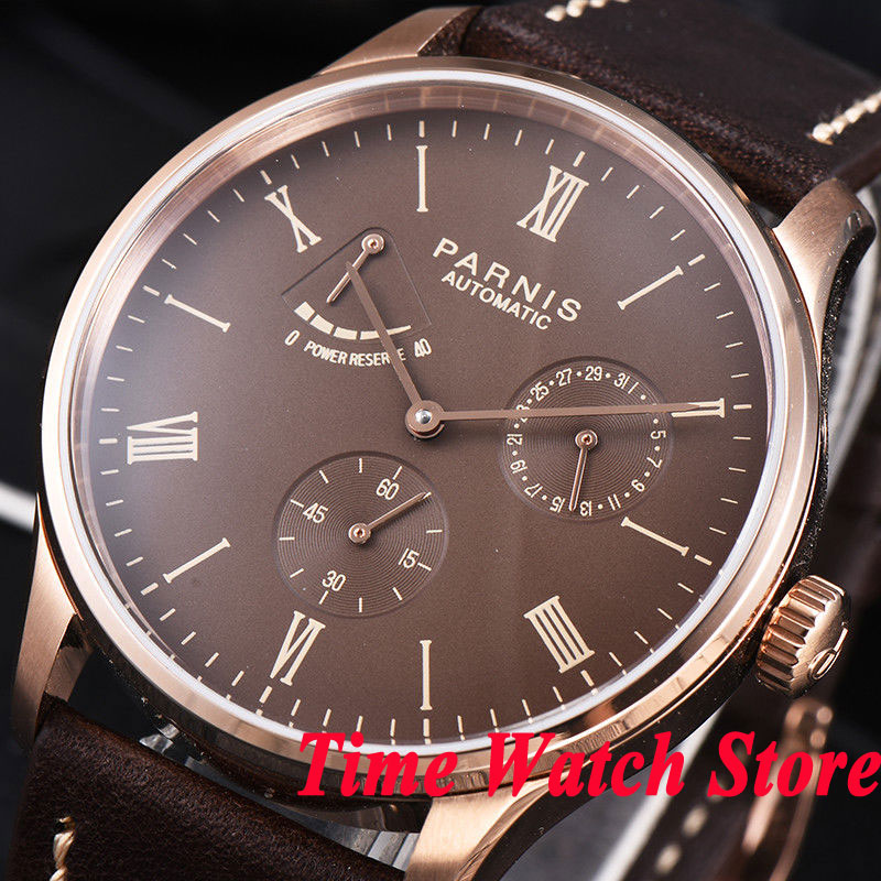 Parnis men's watch 42mm rose golden case DATE Power reserve coffee dial 5ATM ST1780 Automatic movement wrist watch men 945 цена и фото