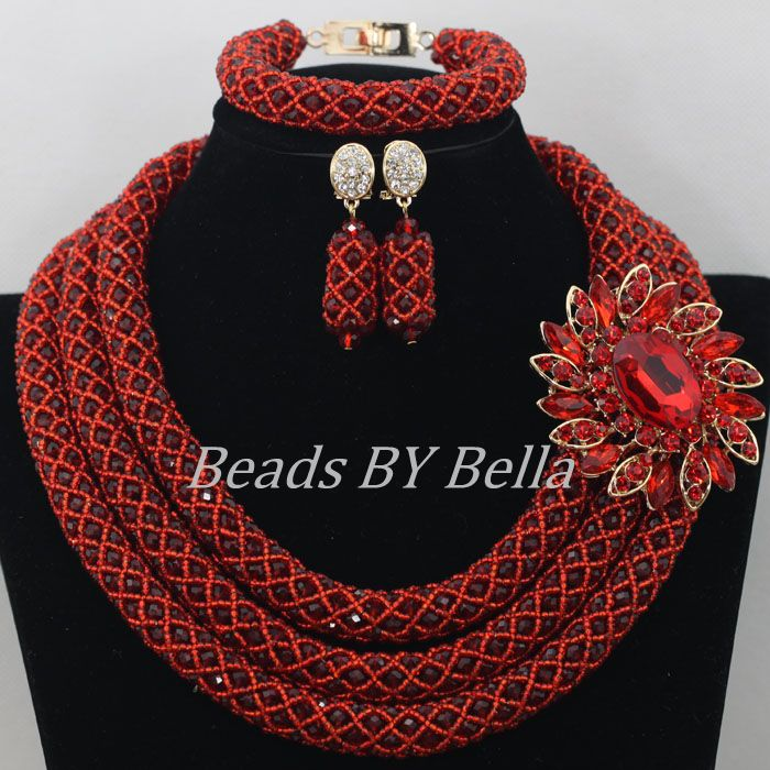 Popular Wine Crystal Beads Necklace Bridal Lace Jewelry Sets Nigerian Wedding African Beads Jewelry Set Free Shipping ABF362Popular Wine Crystal Beads Necklace Bridal Lace Jewelry Sets Nigerian Wedding African Beads Jewelry Set Free Shipping ABF362