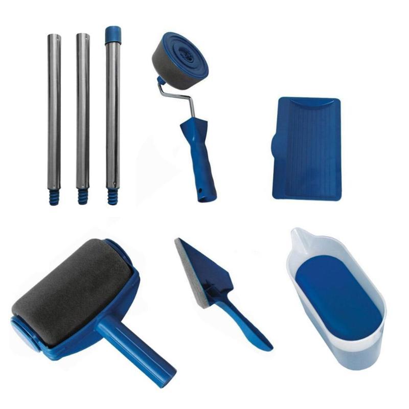 8 piezas DIY pintura Runner Pro rodillo cepillo herramientas conjunto mango flocado Edger Oficina Casa habitación pared pintura rodillo pincel juegos