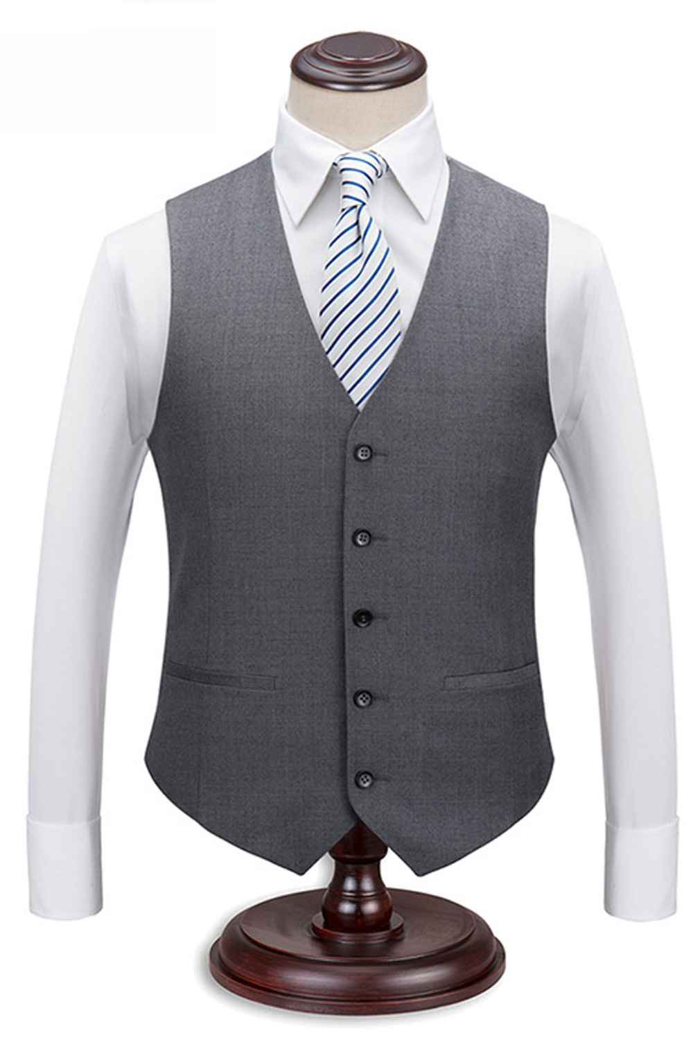 Waistcoat Mens Vest 5-Buttons New V-Neck Wool with Silk Back Single Top-Quality Gery