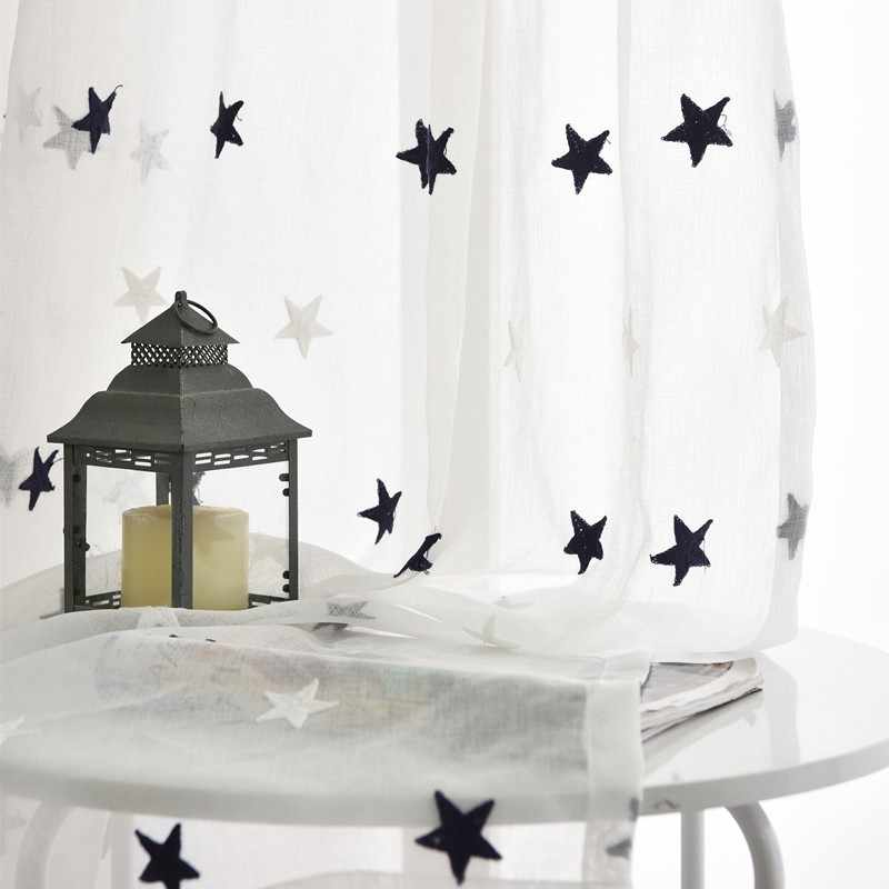 Gray/Pink Stars Embroidered Voile Curtains for Living Room the Bedroom Sheer Curtains Tulle Window Curtains Fabric Drape 159&30