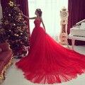 2015 Vestidos Párrafo Fsta Sweetheart Largo Rojo Tren Largo Barato Vestidos de noche de Fiesta Elegante Por Encargo Robe De Soirée de Baile vestidos