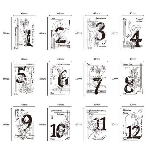 12 pièces/ensemble Vintage mois & fleur en bois caoutchouc timbres Scrapbooking papeterie bricolage artisanat 6 cm * 4 cm