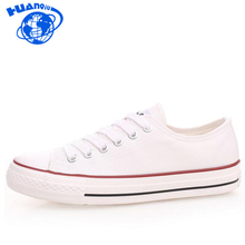 HUANQIU Mujer Zapatos de Lona Clásicos de La Marca de Moda Casual zapatos de Las Mujeres negro Blanco Azul Rojo de Lona Planos Zapatos Todos Los zapatos Amante ST143