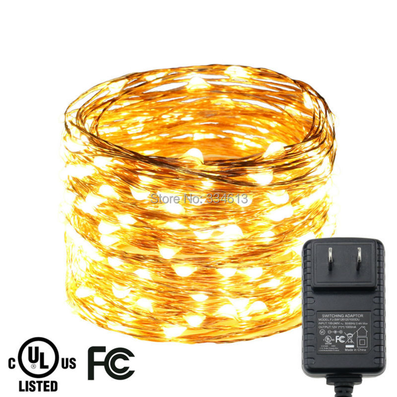 20M/66FT 200LED Copper Wire LED Fairy Lights Decorative String Lights Christmas Holiday Lights + CE/UL Adapter US/UK/EU Plug