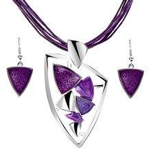ZOSHI Fashion Jewelry Sets Leather Rope Chian Gem Pendants & Necklaces Drop Earrings For Women Set Wedding Boho Jewelry Sets