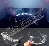 Fashion LED laser light emitting transparent glasses Red and white transparent spectacles Nightclub bar performance equipment