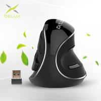 Delux M618 Plus Ergonomic Vertical Wireless Mouse 800 1200 1600 DPI 6 Function Buttons Optical Mice