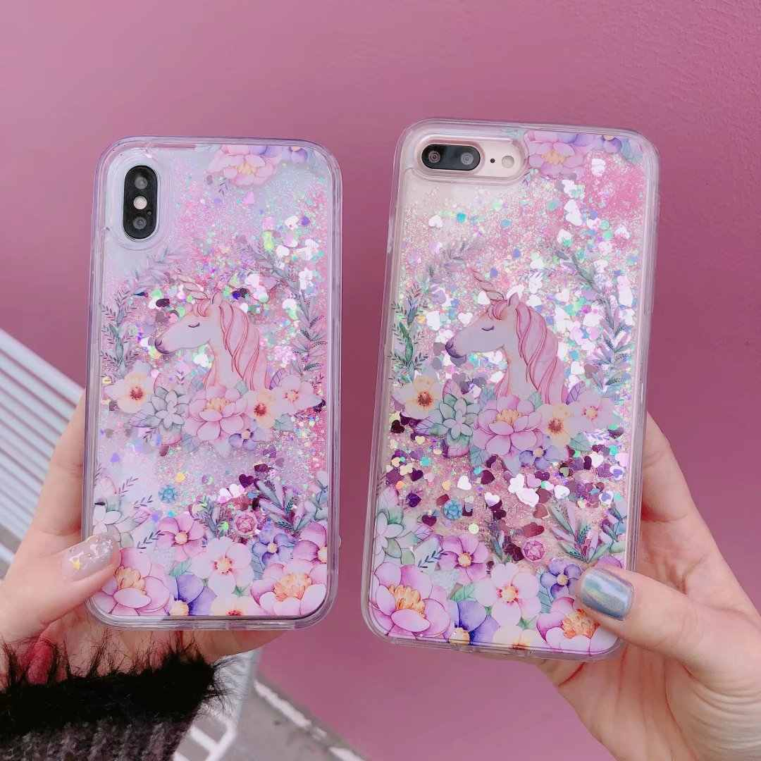 size 40 16166 862a3 Unicorn liquid case For iphone X/ 8 plus Dynamic Glitter Quicksand cove For  iPhone 7/7 plus 6 6S 6Splus pink bling horse fundas