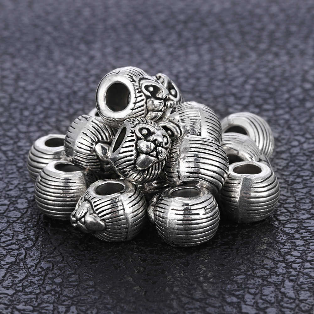1pc Antique Silver Tiger Pattern Beads Hair Beard Beads Charm Findings Bead for Jewelry Making Bracelet Necklace DIY Accessories