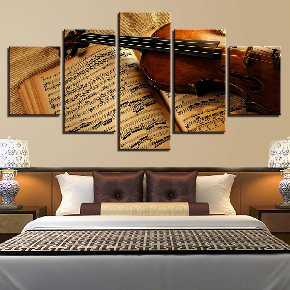 Wall Art Pictures Home Decoration Posters Frame 5 Pieces Musical Instrument Violin Score Book Living Room HD Printed On Canvas