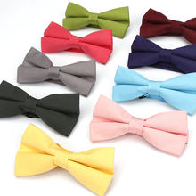 KR1167-1179 Men's Bow Tie Adjustable 100% Cotton Butterfly Cravat Red Blue Pink Solid Color Bowtie Tuxedo Bows Male Accessories(China)
