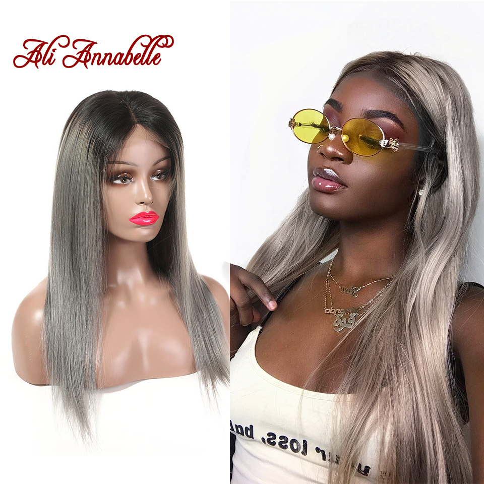 ALI ANNABELLE HAIR Brazilian Lace Front Wig Straight Hair 16 Inch Lace Wigs Ombre Hair 1B