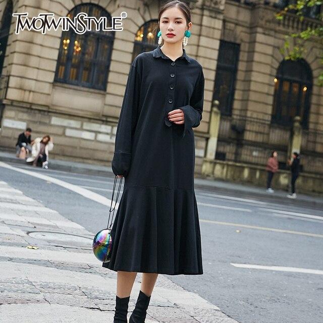 9e76be90a34 TWOTWINSTYLE Black Dress For Women Autumn Lapel Collar Long Sleeve Draped  Midi Dresses Female Oversize Fashion Vintage Clothing