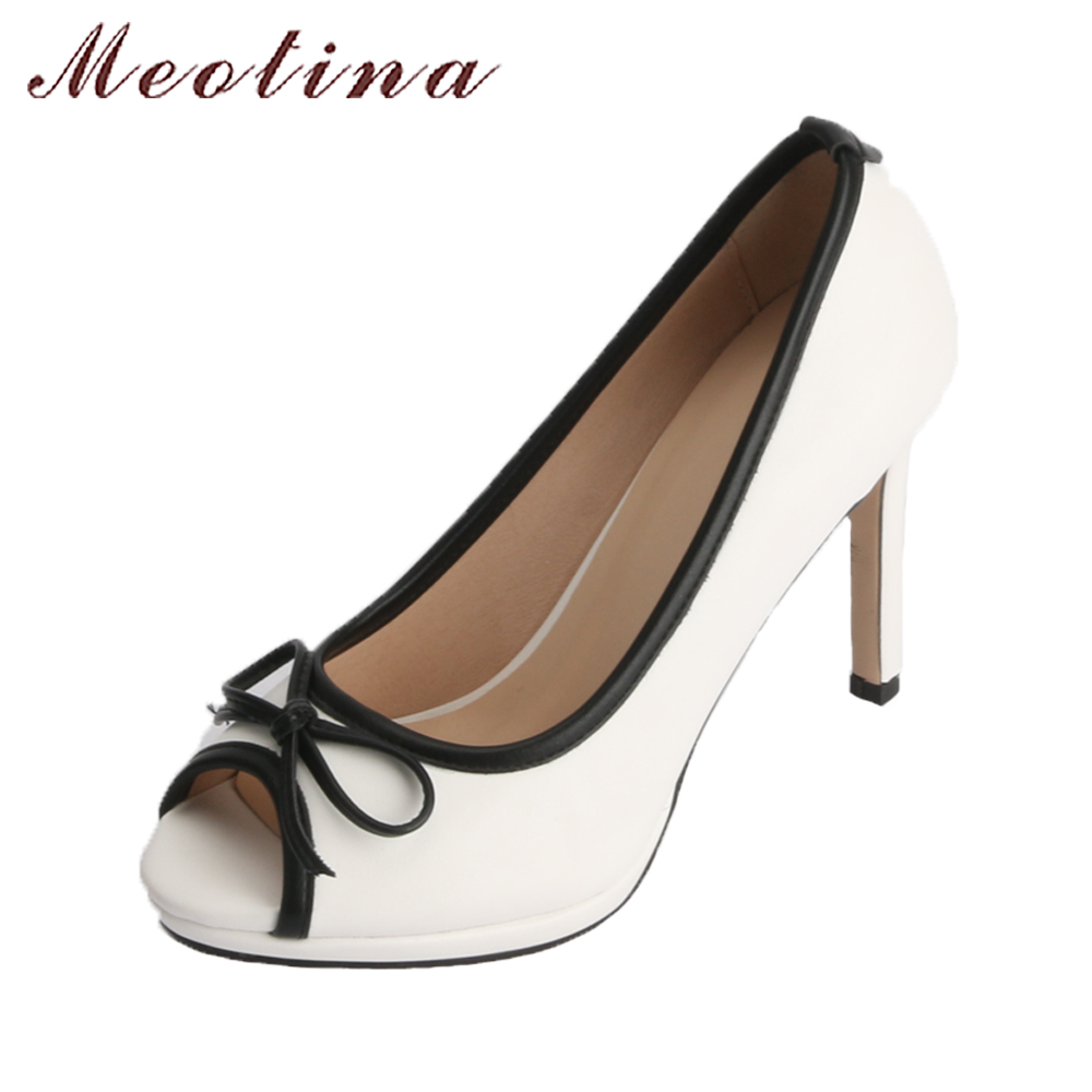 Meotina Women Wedding Shoes 2018 Spring Platform High Heels Shoes Pumps Peep Toe Bow White Slip On Sexy Shoes Ladies Size 34-43 qutaa 2017 silver women pumps thin high heel peep toe slip on platform sexy summer pu leather ladies wedding shoes size 34 43