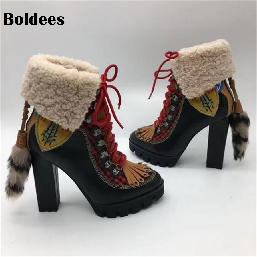 Winter Wool Snow Boots Woman Round Toe Bandage Platform High Heel Boots Women Short Fashion Lace Up Ankle Booty