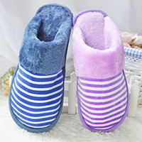 Winter Warm Cotton Slippers Home Indoor Couples Shoes For Men And Women Stripe Design Plush Shoes