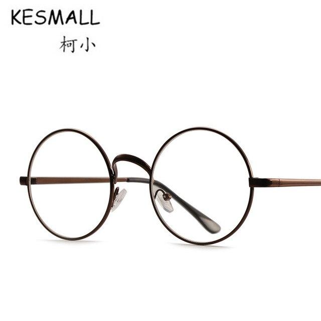5231e16524232 KESMALL 2018 Óculos Homens Mulheres Retro Rodada Óculos Armação de Metal  Leve Pernas Finas Óculos Frames