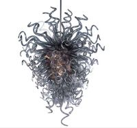 Grey Coloured Hand Blown Murano Glass Chain Chandelier Lustre Glass Grey LED Chandelier