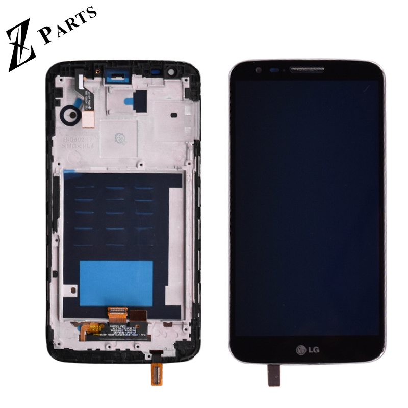 Black LCD Screen Mobile Phone LCD Display Touch Panel with Frame for LG Optimus G2 // D802 Color : White