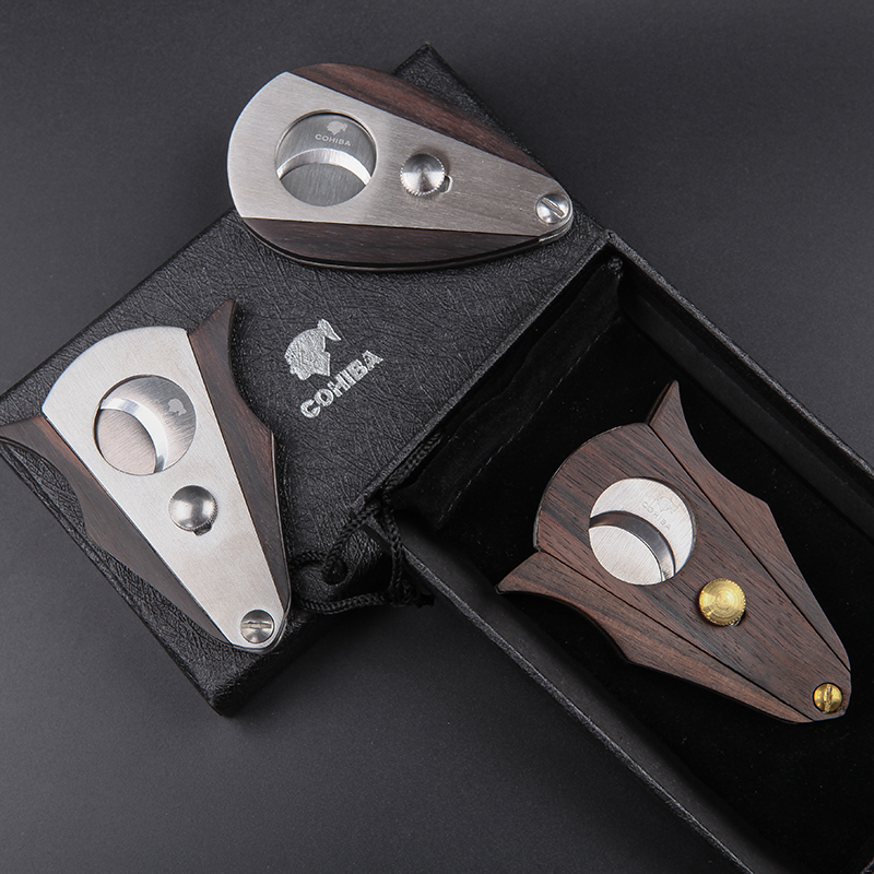New 1pcs Cohiba cigar Cutter cigar scissors Wood sector edged stainless steel blade Smoke Men 39 s Gadget With pouch and gift box in Cigar Accessories from Home amp Garden