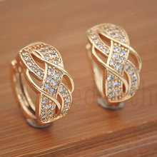 2019 New Statement Hoop Earrings Women Trendy Fashion Jewelry Zircon Spiral Pattern Gold OBS3109