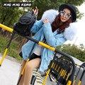 MAOMAO KONG Короткий Параграф Синий женская Мода Большой Енот меховым воротником С Капюшоном Зимнее Пальто Куртки Парки