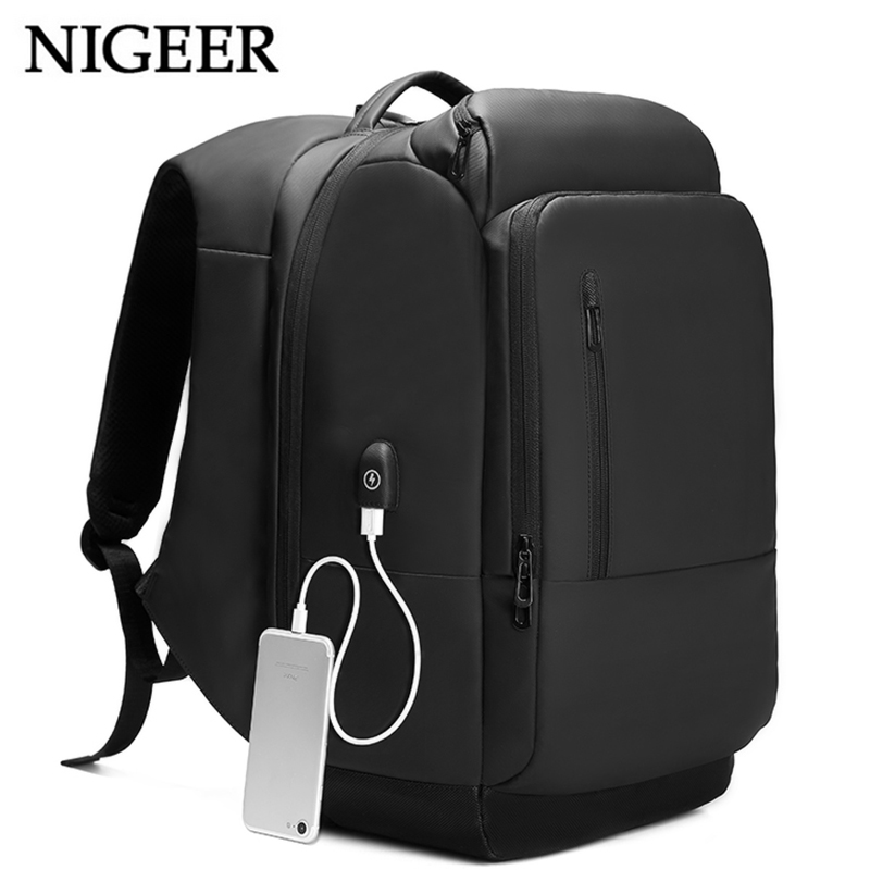 17 inch Laptop Backpack For Men Business Waterproof Backpacks USB Charging Large Capacity Bag Casual Travel Backpack Black n1755