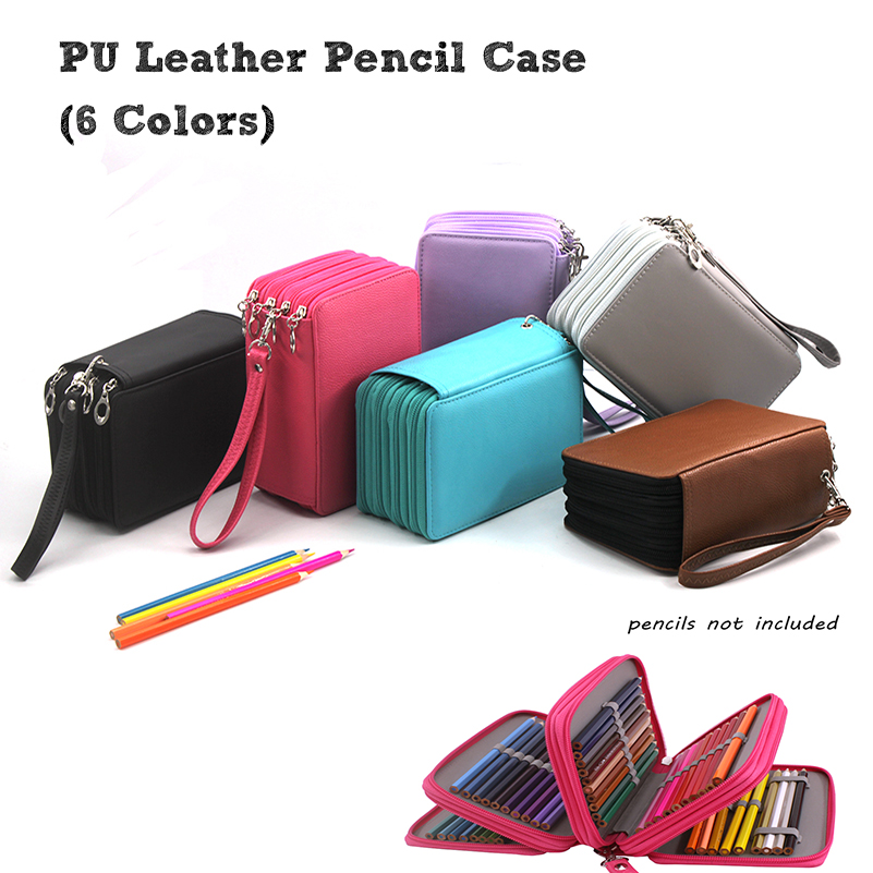 Colored 72 Holders 4 Layers Color Case Large Capacity PU Leather School Pencil Case for School Pencil Bag dainayw 127 holders large capacity school pencil case pu leather portable colored pencil holder pen bag for artist students