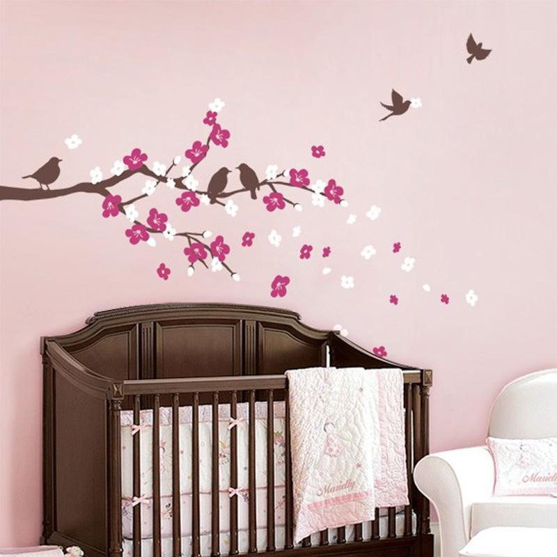 flor de cerezo rama con pjaros nios pared de vinilo pegatinas juego de adhesivos tatuajes de