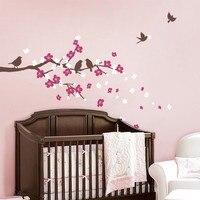 Kersenbloesem Tak met Vogels-Kids Vinyl Muursticker Decal Set Muurstickers Verwijderbare Nursery Baby Slaapkamer Decor Thuis Decor