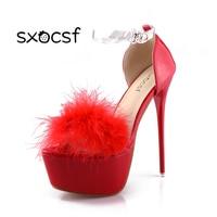 Красивые пикантные супер Босоножки на платформе Насосы Для женщин Мода ful стилет Каблучки Обувь открытый носок шпильки обувь для вечеринки,...
