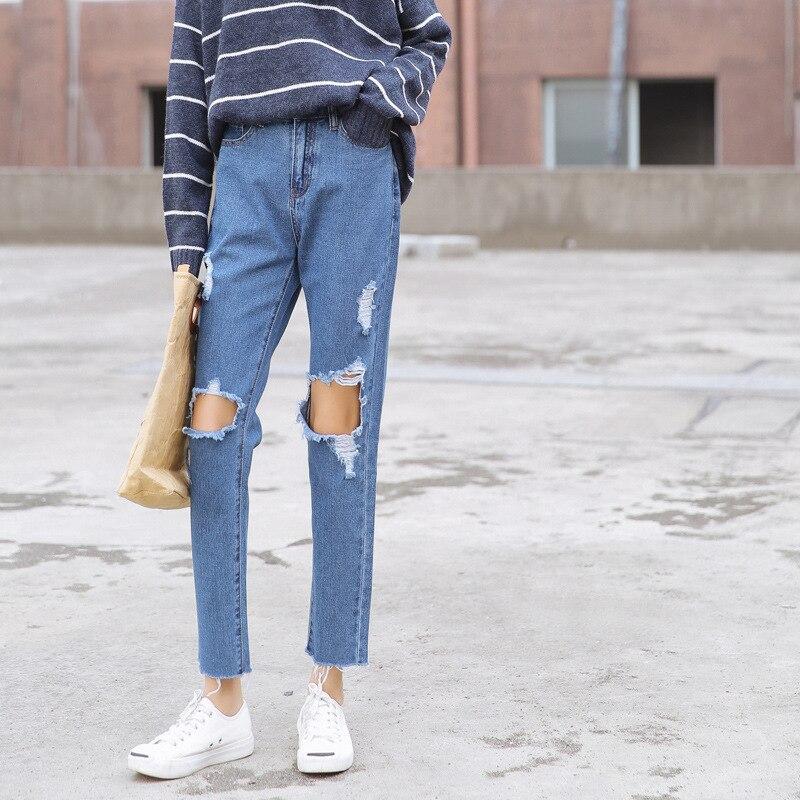 Women Apparel Boyfriend Hole Ripped Jeans Women Denim -2863