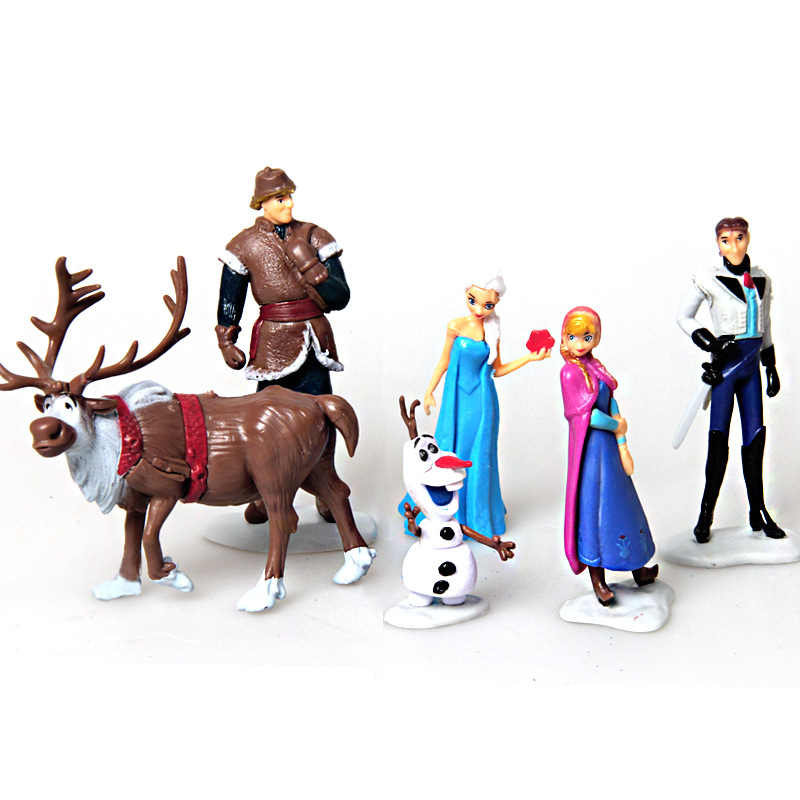 цена 6pcs/Set Disney Toys For Kid Frozen Snow Queen Anna Elsa Figures Kristoff Sven Olaf Pvc Action Figure Toy Play Set Classic Toys
