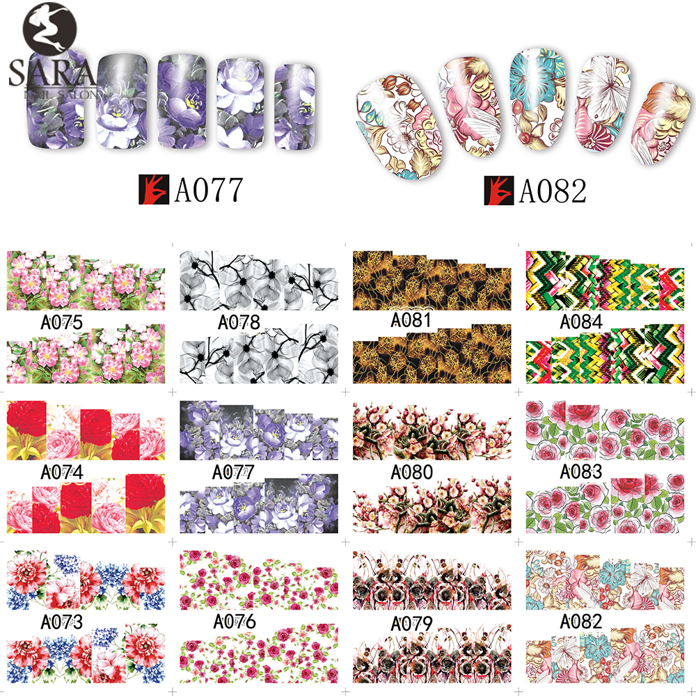 Nail Salon 48 Design Flower Water Transfer Stickers DIY Nail Art Decorations Manicure Wraps Foil Decals Nail Tools SAA049-096 10 sheets lot charming nail stickers full wraps flowers water transfer nail decals decorations diy watermark manicure tools