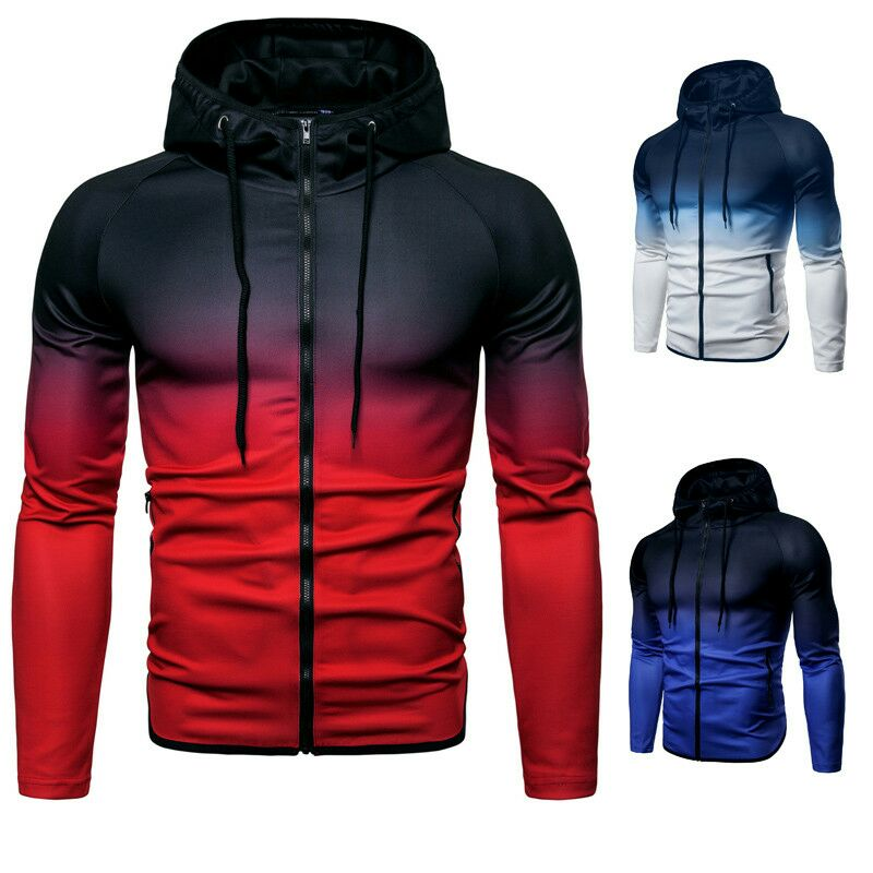 Autumn Winter Hip Hop Hooded Men Long Sleeve Gradient Zipper Sweatshirt Male Casual Sportwear Big Size Jacket For Men Plus Size