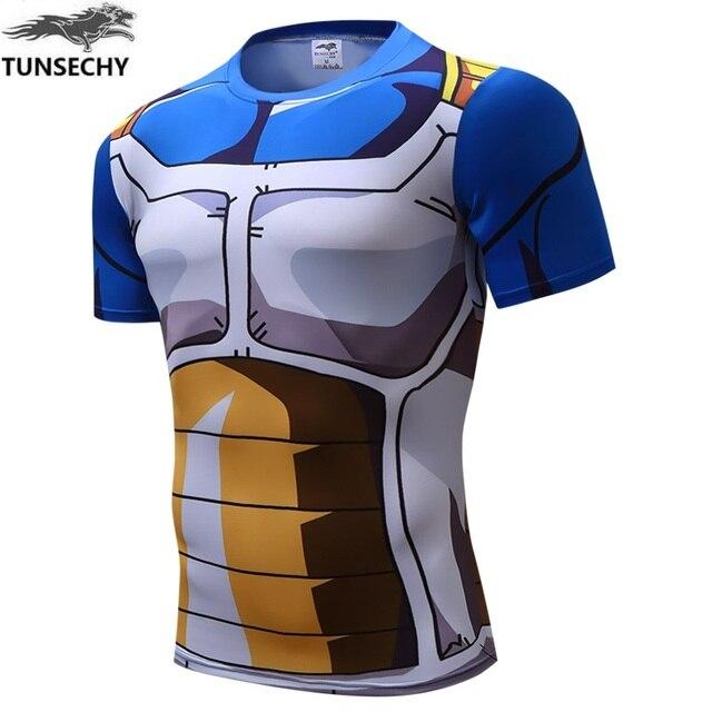 b9b413e8627e9 Tunsechy marca dragonball vegeta personajes de ropa hombre apretado  camisetas con manga corta fitness camiseta