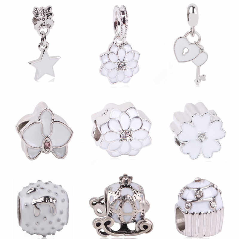 Ranqin Original Fashion European White Lotus Pendant Pumpkin Car Bead Snowman Fit Pandora Charms Bracelets DIY Pandora Jewerly