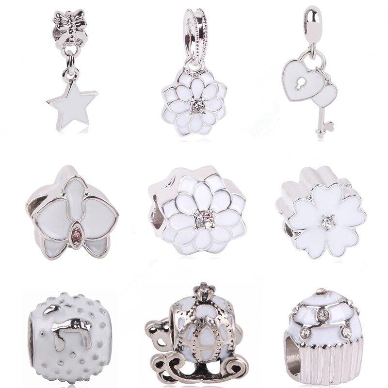 Ranqin Original Fashion European White Lotus Pendant Pumpkin Car Bead Snowman Fit Pandora Charms Bracelets DIY Women Jewerly
