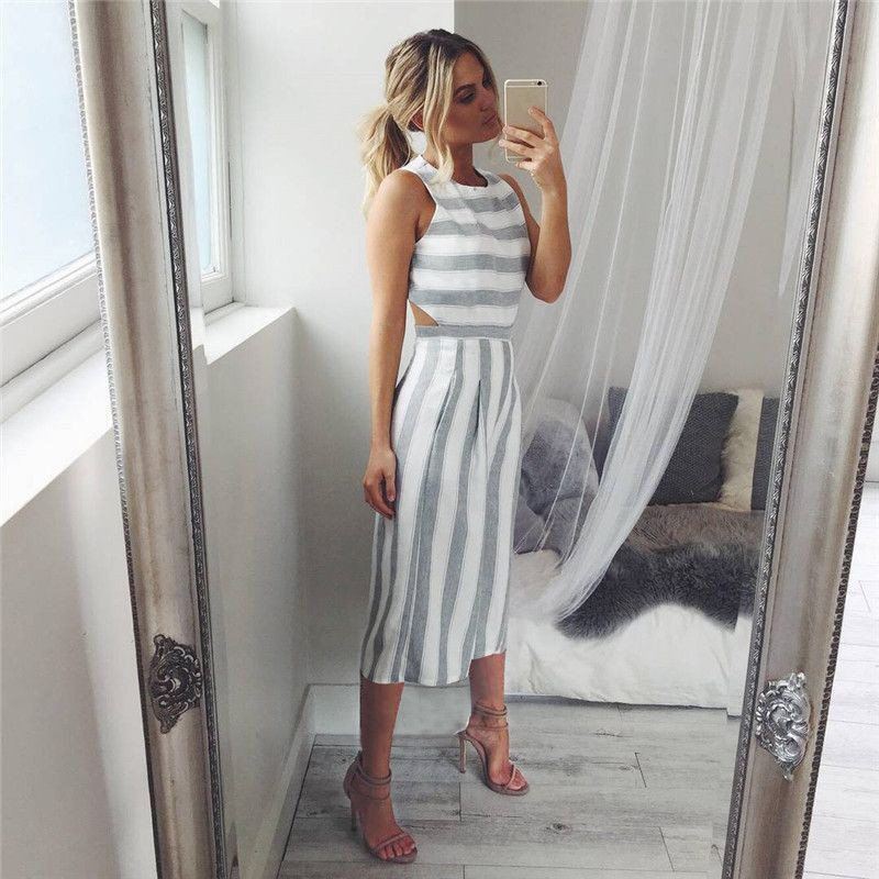 Free Ostrich   Jumpsuit   Women Sleeveless Striped   Jumpsuit   Casual Clubwear Wide Leg Pants Outfit Playsuit Overalls feminino D0635